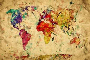 colorful graphic of the world